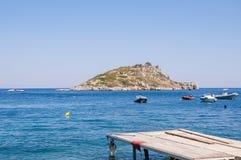 Agios Nikolaos Island, Zacinto Fotografia Stock Libera da Diritti