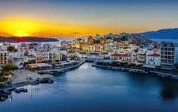 Agios Nikolaos, Jeziorny Vouliagmeni, Crete, Grecja Obrazy Stock