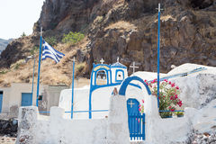 Agios Nikolaos kościół w Therasia, Santorini Obraz Stock