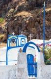 Agios Nikolaos kościół w Therasia, Santorini Fotografia Royalty Free