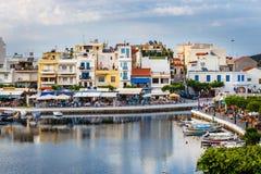 Agios Nikolaos miasteczko przy lata popołudniem Obrazy Stock