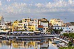Agios Nikolaos miasteczko przy lata popołudniem Fotografia Royalty Free