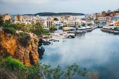 Agios Nikolaos miasteczko przy lato wieczór Obrazy Royalty Free