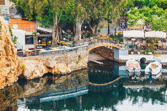 Agios Nikolaos miasteczko przy lato wieczór Agios Nikolaos jest jeden turystyczny Obraz Royalty Free