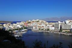 Agios Nikolaos miasto, Crete, Grecja Obrazy Royalty Free