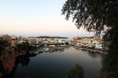 Agios Nikolaos miasto, Crete, Grecja Zdjęcie Royalty Free