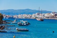Agios Nikolaos miasto, Crete, Grecja Fotografia Royalty Free