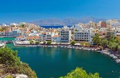 Agios Nikolaos miasto, Crete, Grecja Fotografia Stock