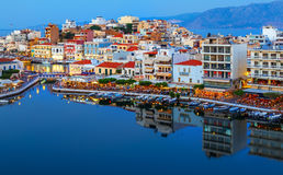 Agios Nikolaos at night. Crete, Greece. Agios Nikolaos is a picturesque town in the eastern part of the island Crete. Built on the northwest side of the Royalty Free Stock Image