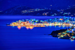 Agios Nikolaos at night, Crete, Greece Royalty Free Stock Photos