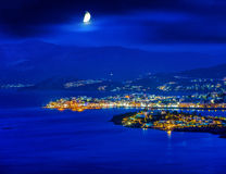 Agios Nikolaos at night, Crete, Greece Royalty Free Stock Photo