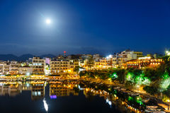 Agios Nikolaos, one of the most touristic cities on Crete. Island, at summer evening, Greece Royalty Free Stock Photo