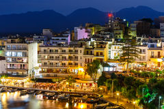Agios Nikolaos, one of the most touristic cities on Crete. Island, at summer evening, Greece Stock Photo
