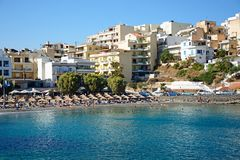 Agios Nikolaos plaża, Crete Zdjęcie Stock
