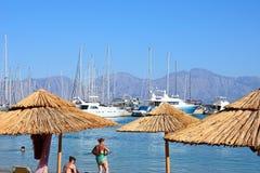 Agios Nikolaos plaża i marina, Crete Fotografia Royalty Free