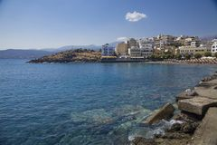 Agios Nikolaos is a popular tourist town in Crete. Beach, hotels and tourist attractions in the city. Beautiful Greek. Agios Nikolaos is a popular tourist town royalty free stock photography