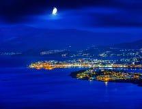 Agios Nikolaos przy nocą, Crete, Grecja Zdjęcie Royalty Free