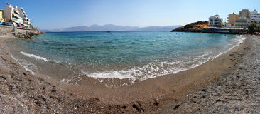 Agios Nikolaos sandy beach Royalty Free Stock Photography
