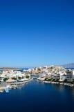Agios Nikolaos schronienie i miasteczko, Crete Obraz Royalty Free