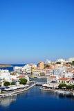 Agios Nikolaos schronienie i miasteczko, Crete Fotografia Royalty Free