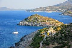 Agios Nikolaos in warm evening light. Zakynthos or Zante island, Ionian Sea, Greece. stock image