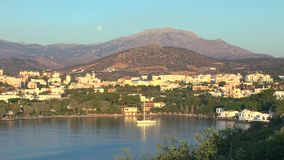 Agios Nikolaos before sunset Crete stock footage