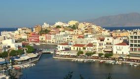 Agios Nikolaos before sunset Crete stock footage