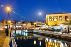 Agios Nikolaos town at summer evening. Royalty Free Stock Photos