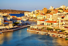 Agios Nikolaos and Voulismeni lake in Crete island, Greece. Royalty Free Stock Photography
