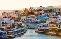 Agios Nikolaos w wczesnym poranku, Crete, Grecja Fotografia Royalty Free