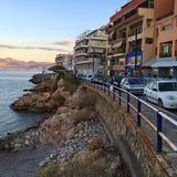 Agios Nikolaos w wieczór Obrazy Stock