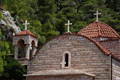 Agios Patapios. Three crosses of Greek orthodox monastery of Osios Patapios near Corinth and Loutraki at sunny summer day Stock Image