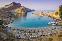 Agios Pavlos Beach in Lindos, het eiland van Rhodos, Griekenland Stock Foto