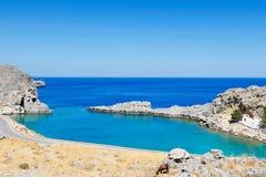 Agios Pavlos beach in Rhodes, Greece. Agios Pavlos beach near the village of Lindos in Rhodes, Greece stock image