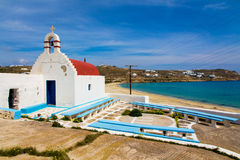 Agios Sostis church and beach in Mykonos, Greece Stock Photography