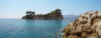 Agios Sostis Panorama van paradijseiland op Zakynthos, Gr. Stock Foto