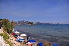 Agios Sostis-strand op het eiland van Zakynthos, Griekenland Royalty-vrije Stock Afbeeldingen