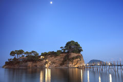 Agios Sostis under the moonlight, Zakynthos Royalty Free Stock Photos