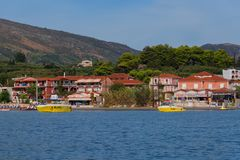 """Agios Sostis, Zakynthos-Insel, Griechenland †""""am 24. September 2017: Ansicht vom Meer zum Strand von Agios Sostis Lizenzfreie Stockfotos"""