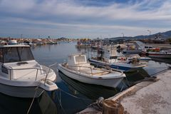 Agios Sostis, Zakynthos Island, Greece – September 24, 2017: Boats in Laganas harbor on a summer cloudy day. Agios Sostis, Zakynthos Island, Greece stock image
