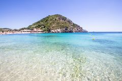 Paleokastritsa bay, Corfu, Greece. Agios Spyridon Bay on famous Paleokastritsa resort, Corfu, Greece Royalty Free Stock Image