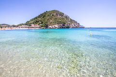 Paleokastritsa bay, Corfu, Greece. Agios Spyridon Bay on famous Paleokastritsa resort, Corfu, Greece Stock Photos