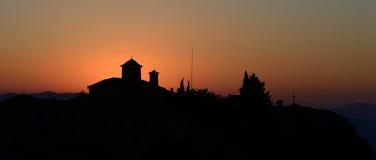 Agios Stefanos-Kloster bei Meteora, Griechenland-sunrice Stockfotografie