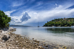 Agios Stefanos. Is small tourist resort on the north east coast of Corfu in the Ionian Sea of Greece Royalty Free Stock Photo