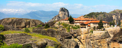 Agios Stefanos St Stefan Monastery on Meteora cliff, Greece Royalty Free Stock Photo