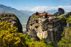 Agios Stefanos St Stefan Monastery on Meteora cliff, Greece Stock Images