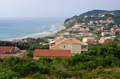 Agios Stefanos town in beautiful bay on Corfu island. Greece Royalty Free Stock Image