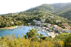 Agios Stephanos aerial view, Corfu, Greece. Aerial view of a beautifully located resort of Agios Stephanos on the Greek island of Corfu Stock Images