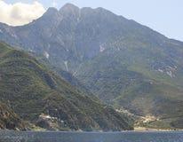 Agiou Pavlou monastery and Dionysiou monastery. Stock Photo