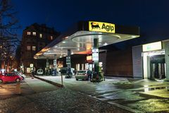 AGIP gazu stacja benzynowa przy nocą Obraz Royalty Free